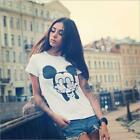 Women Men Girl's Funny Humour Fashion Gift Tee Tops Mickey Mouse Up Yours Finger