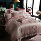 Luxurious Pink Euro Satin Jacquard Egyptian Cotton Queen Bed Quilt Cover Sets