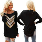 Women Long Sleeve Sequin Round Neck Casual Long Blouse Tops T Shirt Black New