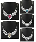 Statement Flower Crystal Diamante Rhinestone Necklace - Choice of Colour