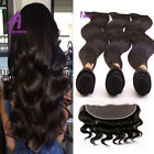Body Wave 13X4 Lace Frontal Closure with Peruvian Hair Bundles Weave US STOCK 8A