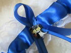 Royal Blue Wedding Garter, White Lace Royal Blue Ribbon with Bride/Groom Charm.