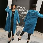 Womens Casual Faux Fur Coats The knee-length Jackets Loose Hooded Trench Outdoor