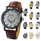 Men's Faux Leather Band Wrist Skeleton Watch ED $2.9 USD