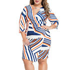 HIG Women's Plus Size 3/4-Sleeve Colorful Striped Print Bodycon OL Pencil Dress
