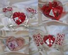 ☆2 Wine Glasses & Rose Soap/Bath Petals☆U Pick Set☆Love/Hearts/Wedding/Romantic☆