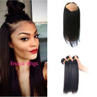 Peruvian Straight Hair 360 Lace Frontal Closure Lace Band Frontal With 3 Bundles