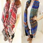 Lady Red Vintage Women Long Soft Cotton Voile Print Scarves Shawl Wrap Scarf Ky