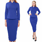 BLUE MARYCRAFTS WOMEN'S FITTED BODYCON PENCIL WORK OFFICE BUSINESS SKIRT SUIT