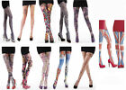 New Ladies Womens Silky TATTOO Print Tights Lingerie Rose XMAS HOSIERY Goth Sale
