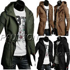 Military Mens Slim Fit Hoodie Coat Parka Long Trench Coat Hooded Jacket Outwear
