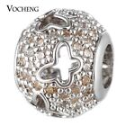 50PCS/lot Copper Beads Charms with CZ Stone Round Jewelry Findings Vn-1670*50