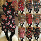 New Women Christmas Xmas Santa Snowman Print Long Sleeve Flared Swing Dress