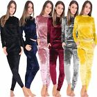 New Ladies Womens Velour Velvot Crushed 2 Piece Lounge Wear Jogger Tracksuit SET