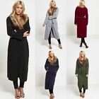 New Womens Ladies Long Duster Jacket French Belted Faux Fur Waterfall Coat Size