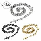 MENDINO Men's Stainless Steel Rosary Beads Necklace Crucifix Cross Jesus Pendant
