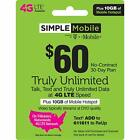 PRELOADED Simple Mobile SIM Prepaid. FREE $60 PLAN 1ST MONTH. UNACTIVATED