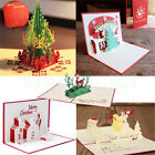 5pcLot 3D Pop Up Christmas Cards Creative Origami Greeting Card Papercraft Gift
