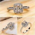 Women Engagement Wedding Ring Crystal Rhinestone White Gold Plated Rings Jewelry