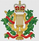 """Corps of Army Music Badge Cross Stitch Design (7.3x8"""", 18x20cm, kit or chart)"""