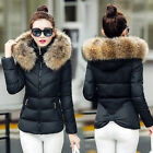 Winter Womans Big Fur Collar Hooded Jacket Thick Warm Wadded Slim Short Coat