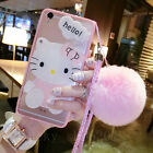Cute Hello Kitty Mirror Plush Ball Strap Clear Case Cover For Iphone X 8 7 Plus