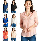 Iron Puppy Juniors Zip Pocket Roll Up Slv Button Down Chiffon Blouse Shirts Top