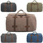 Vintage Canvas Leather Travel Bags Luggage Duffel Bag Tote Weekend Bag Overnight