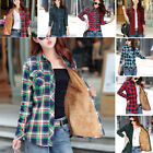 Warm Womens Winter Thick Velvet Button Down Cotton Linen Plaid Shirt Tops Blouse