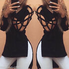 HX Women Fashion Hollow Long Sleeve Asymmetric T Shirt Blouse Winter Fall Tops