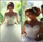 White Beaded Long Sleeve Sweetheart Tulle Ball Gown Wedding Dresses Size 6-18 UK