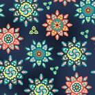 SUNDAY FLOWER POINTED FLORAL BLUE PINK QUILT SEWING FABRIC Free Oz Post