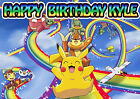 Happy Pikachu Computer Game Rainbow Party Cake Decoration icing sheet Birthday