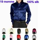 Sisters-Silk Mens 19 Momme 100% Pure Silk Dress Business Shirts Long Sleeve
