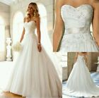 New Strapless A Line White/Ivory Lace Bridal Wedding Dresses  Size 6-18 UK