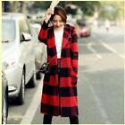 2 Color Womens hooded outwear mid long wool blend coat checks slim overcoats New