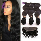 "Brazilian Virgin Human Hair Body Wave 3 Bundles &13""x4"" lace Frontal Closure US"
