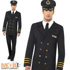 Navy Officer Mens Fancy Dress Costume Military Army WW2 1940s 40s Uniform + Hat