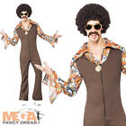 1960s Groovy Jumpsuit Mens Fancy Dress 1970s Hippy Adults 70s Costume Outfit New