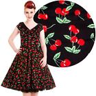 Hell Bunny Cherry Pop Dress Xmas Rockabilly Pinup Vintage Rock N Roll Dance