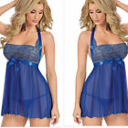 Sexy Womens Lace Floral Lingerie Underwear Babydoll Chemise Robe Blue US 6-20