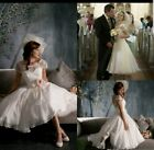 UK Vintage Tea Length White Cap Sleeve Wedding Dresses Cocktail Bridal Size 8
