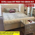Avignon Fabric Queen/King Bed Frame with bedhead oatmeal color solid 35mm slats