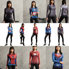 New Women Compression 3D Superhero Slim T-shirts Cosplay Sport Bodybuilding Tops