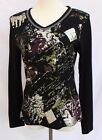 Women's ADORE Black Long Sleeve SILVER Crystal EMBELLISHED Top Shirt HOLIDAYS