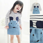 Toddler Baby Kid Girl Cotton Dress Clothes Long Sleeve T-shirt Dress Mouse Dress