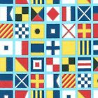 DOWN BY THE SEA NAUTICAL FLAGS OCEAN SEWING CRAFT QUILT FABRIC Free Oz Post