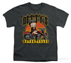 Youth: Betty Boop-Betty's Motorcycles Apparel Kids T-Shirt - Charcoal $16.99 USD