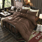 Solid Brown King Single Double Size Quilt Doona Duvet Cover Sets Bed Chocolate