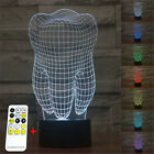New Health Tooth 3D illusion LED Night Light 7Colors Remote Controller Desk Lamp